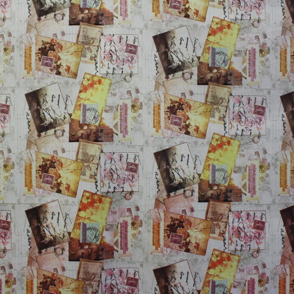 Dekostoff, Druck, Briefmarke, Stempel, 14034