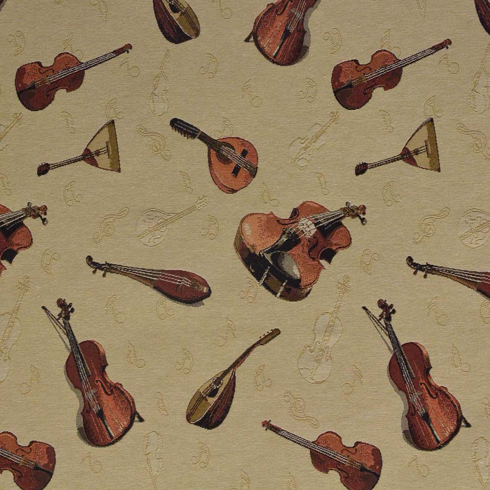 Deco jacquard, music, strings, 14797