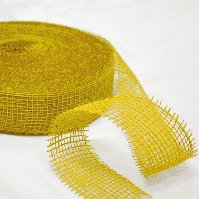 Jute, strip 5cm, 15428, yellow