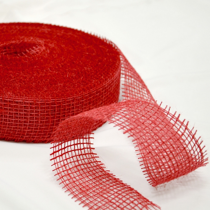 Jute, strip 5cm, 15430, red