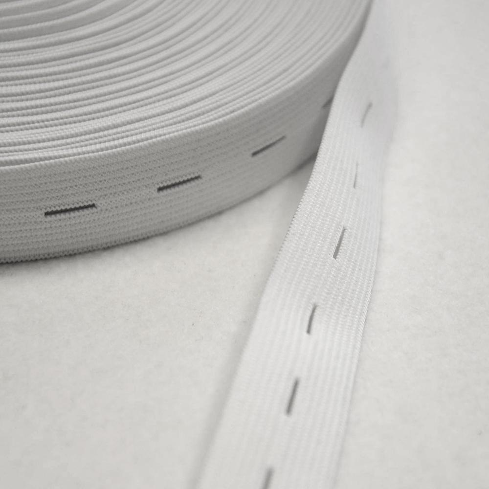 Elastika z luknjicami, 21mm, bela