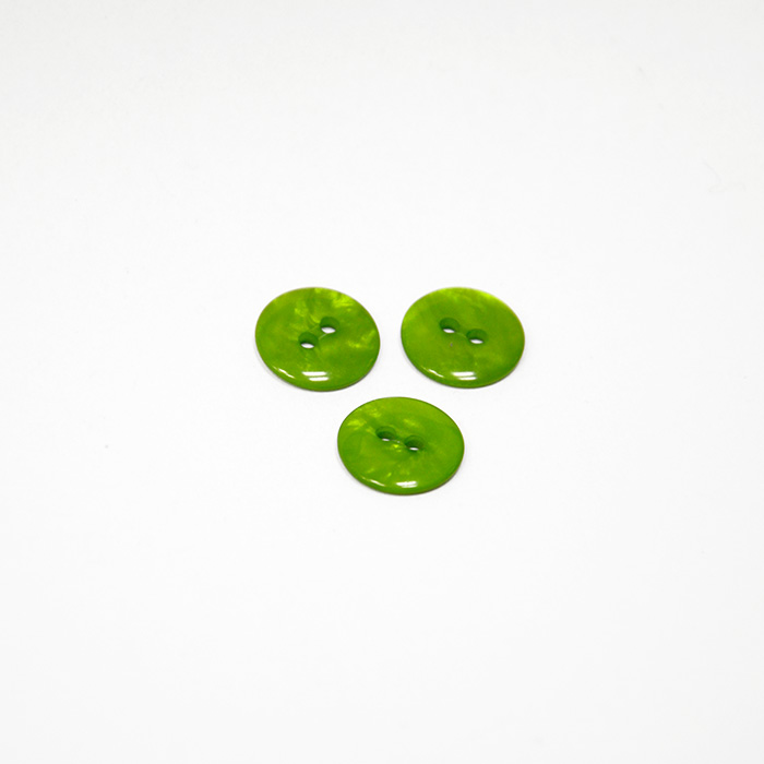 Button, for blouse, green, 14 mm, 15502-1B
