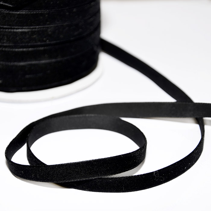 Traka, baršunasta, 10mm, 14165-91, crna
