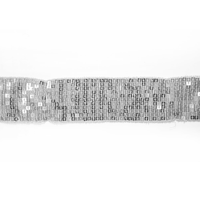 Elastic with sequins, 30mm, 14165-23, silver