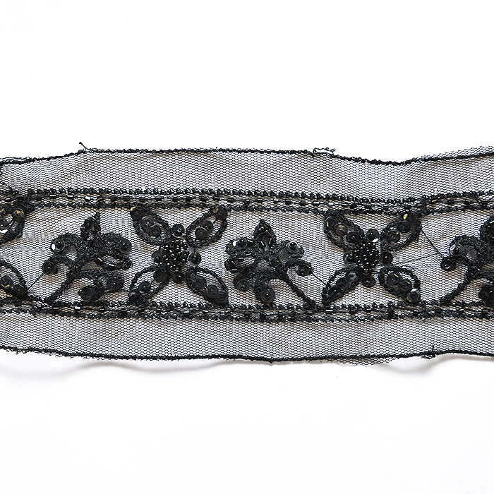 Trim, embroidered with sequins, 14165-13A, black