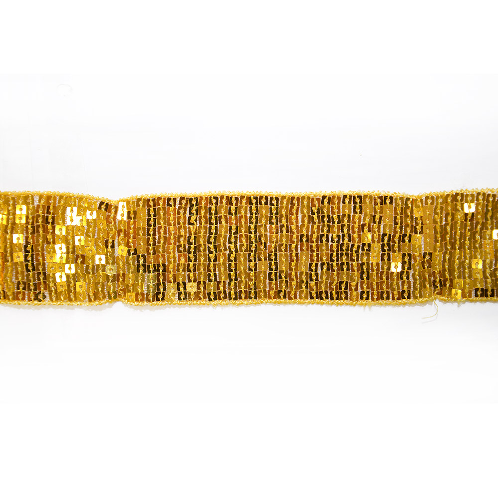 Trim with sequins, 50mm, 14165-22, gold