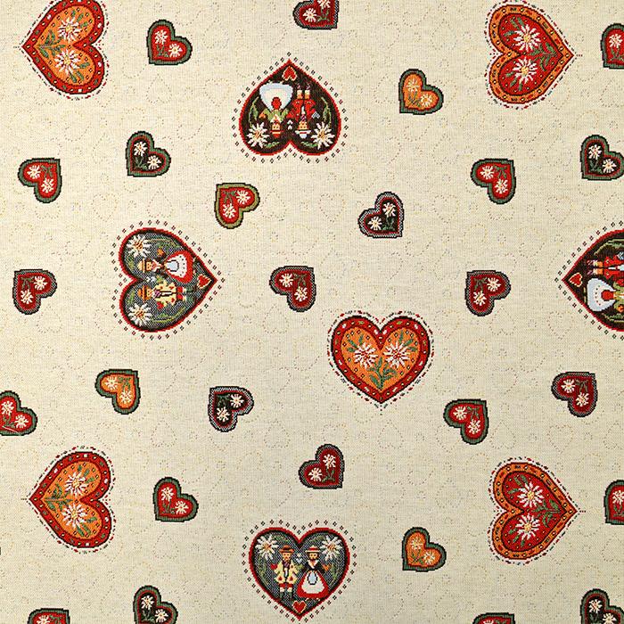 Deco jacquard, hearts, 15789
