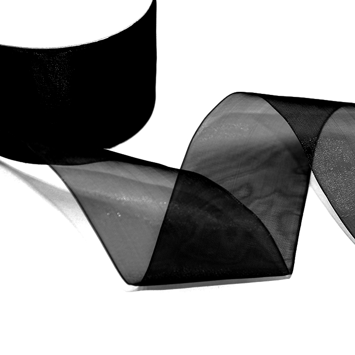 Traka, organdi, 50mm, 5034-2, crna