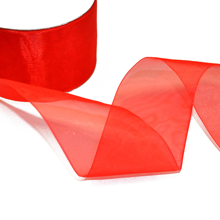 Organza ribbon, 50mm, 5034-25, red