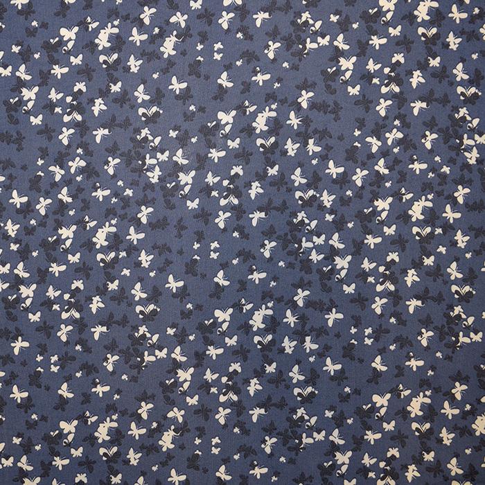 Šifon, metulji, 16505-7, modra