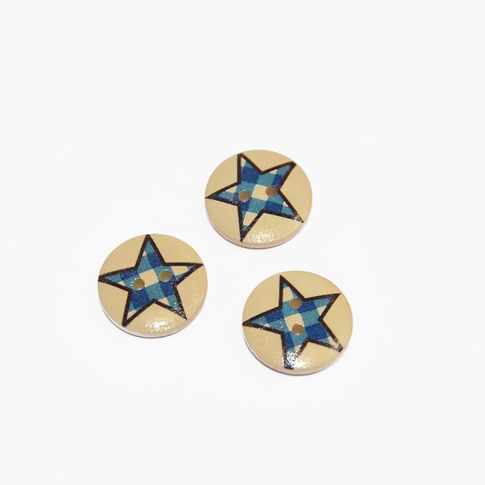 Button, wooden, print, 20 mm 16519-42231