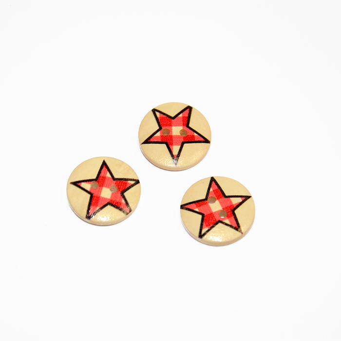 Button, wooden, print, 20 mm 16519-42229