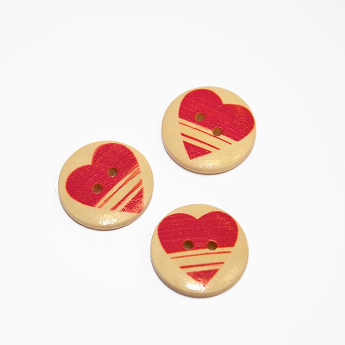 Button, wooden, print, 20 mm 16520-42202