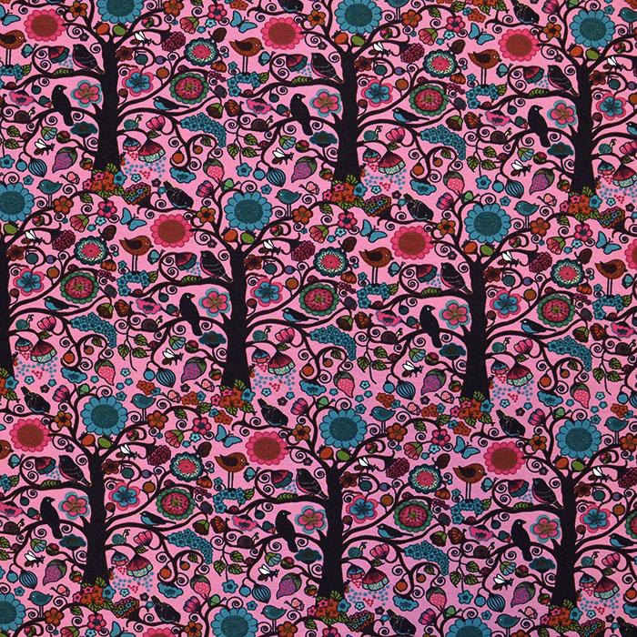 Jersey, bombaž, narava, 17523-12, roza