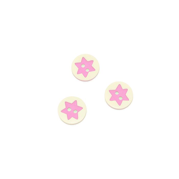Gumb, 3D Zvezda, 17644-43257, roza