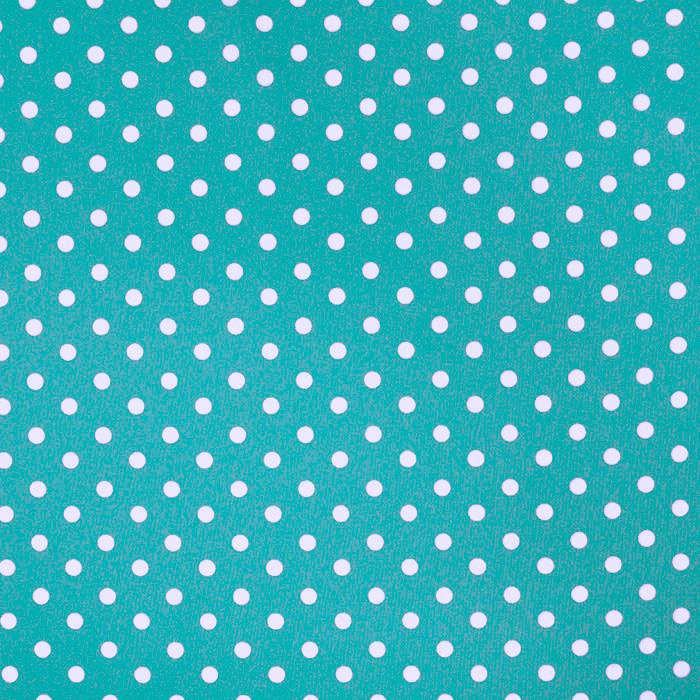 Pamuk, popelin, točke, 17952-009, tirkizna