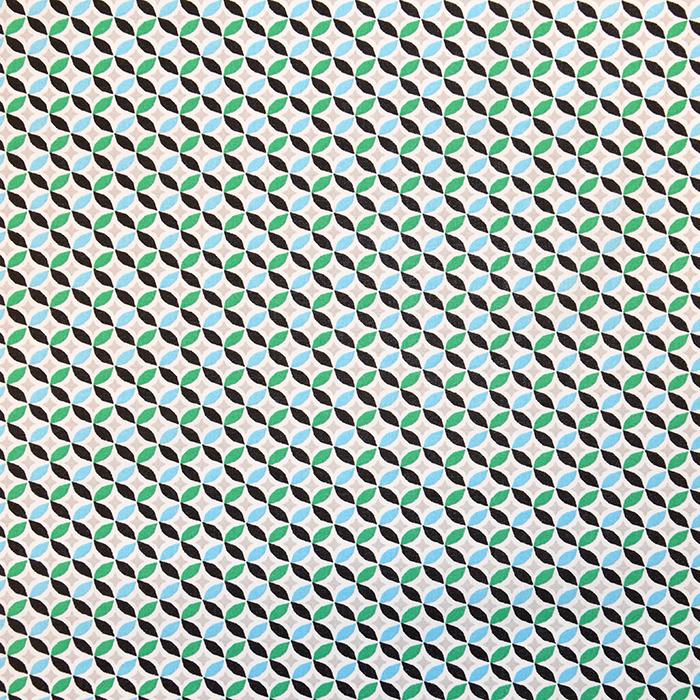 Bombaž, poplin, geometrijski, 18172-2, turkiz
