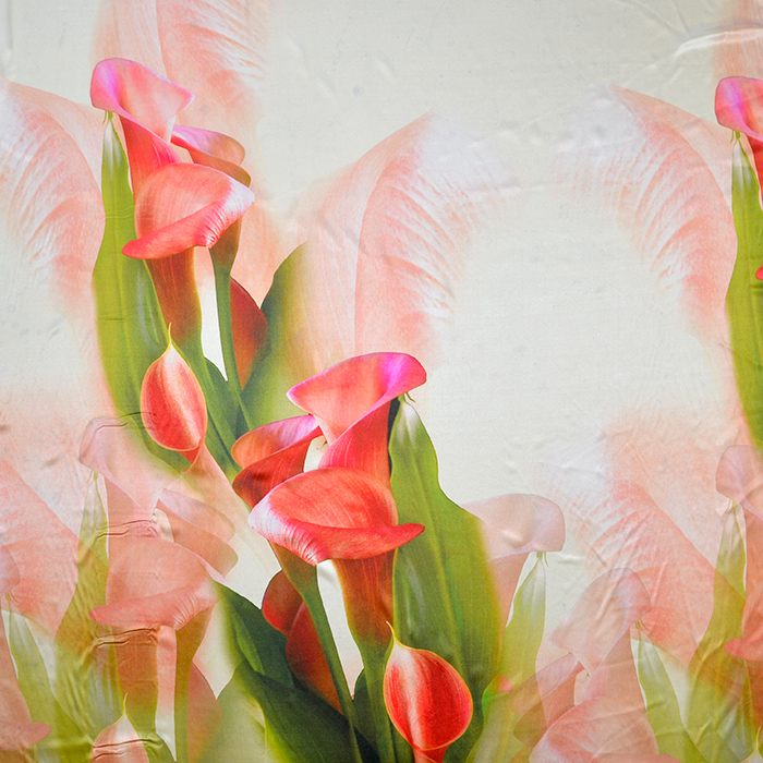 Svila, saten, digital tisk, cvetlični, 18270-11