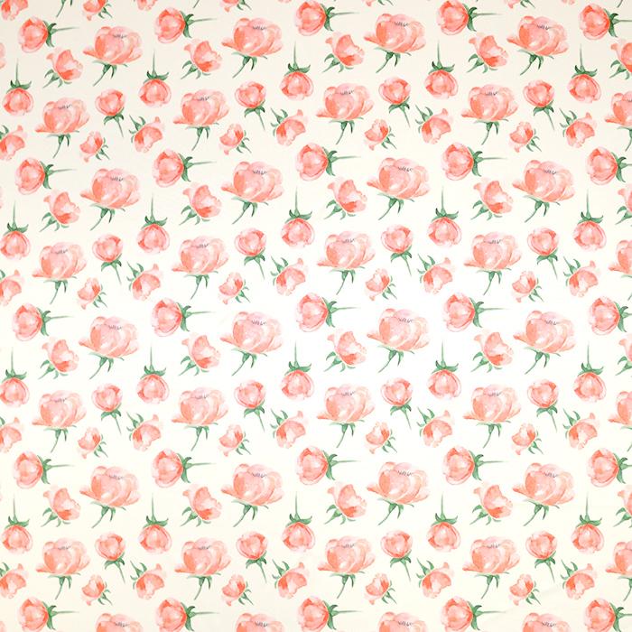Svila, saten, digital tisk, cvetlični, 18270-1