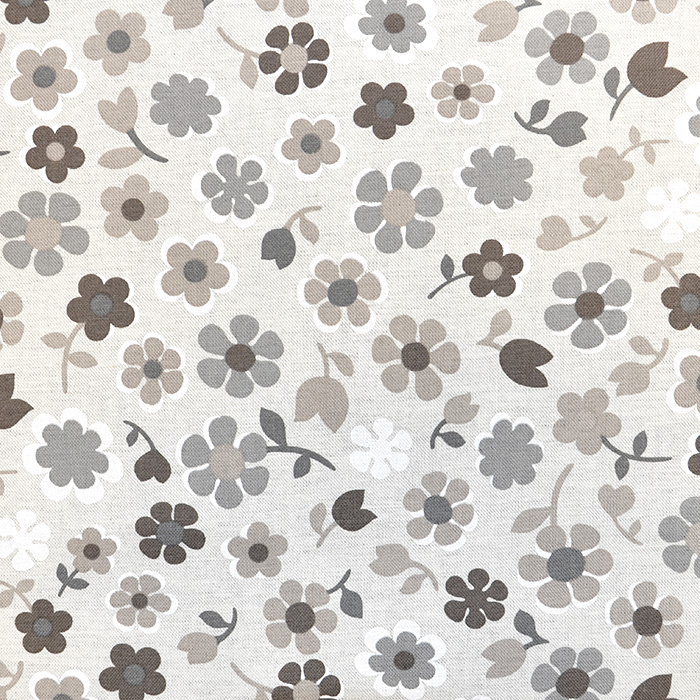 Deko, tisak, impregniran, cvjetni, 18277-6028, smeđa
