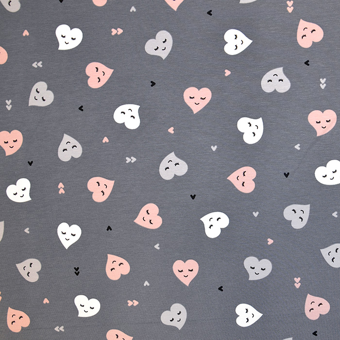 Jersey, pamuk, srca, 18285-021, siva