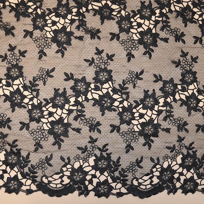 Čipka, cvjetni, 18470-2, crna
