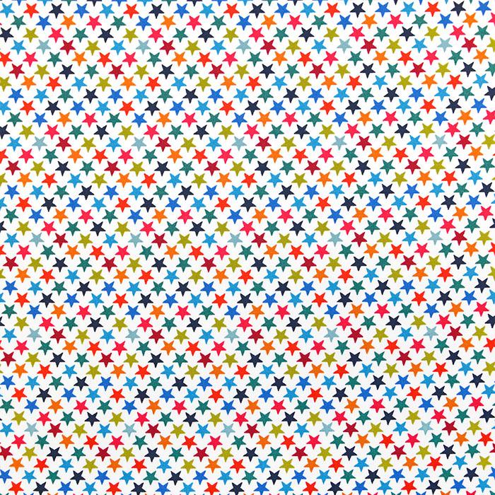 Bombaž, poplin, zvezde, 18647-050, bela