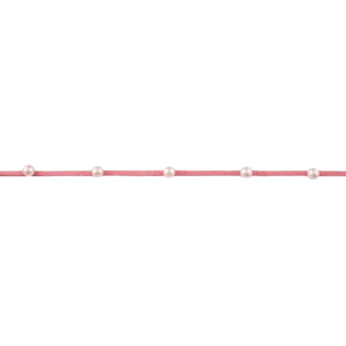 Traka, brušena koža s perlicama, 18839-44301, alt roza