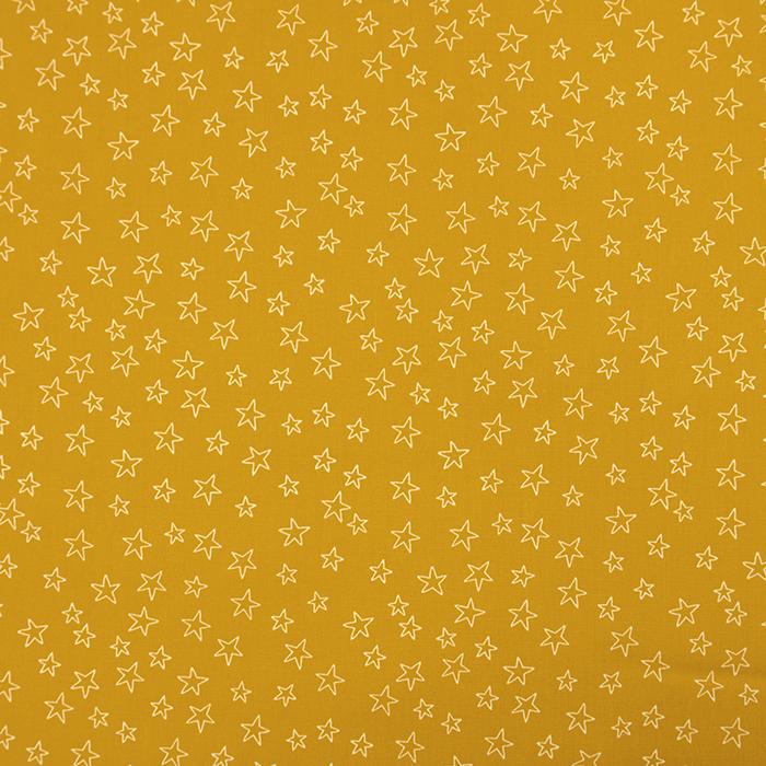 Bombaž, poplin, zvezde, 19134-034, rumena