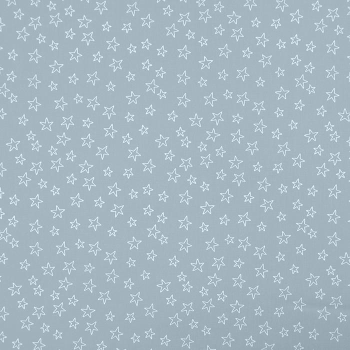 Bombaž, poplin, zvezde, 19134-062, siva