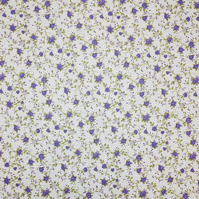 Deko, tisak, impregniran, cvjetni, 19207-6211, plava