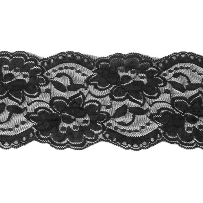 Čipka, elastična, 90mm, 19220-44444, črna
