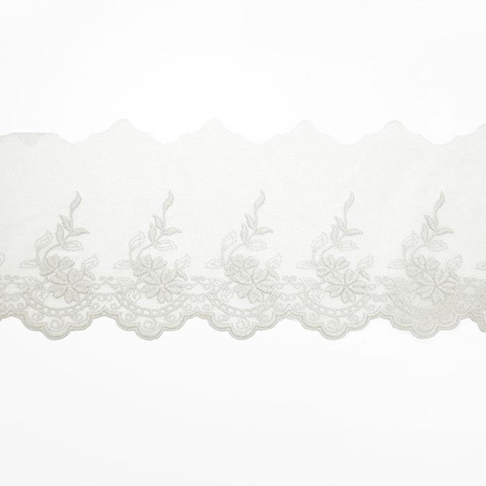 Čipka, vezena, 85mm, 19254-001, bela