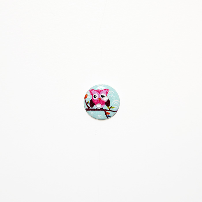 Gumb, les, sova, 15mm,  19301-012, roza