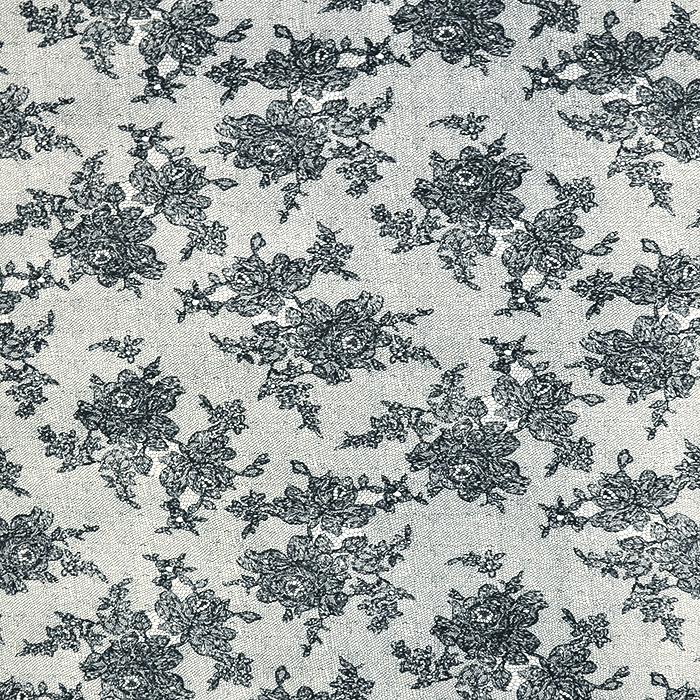 Tkanina, elastična, cvetlični, 19327-069, črna