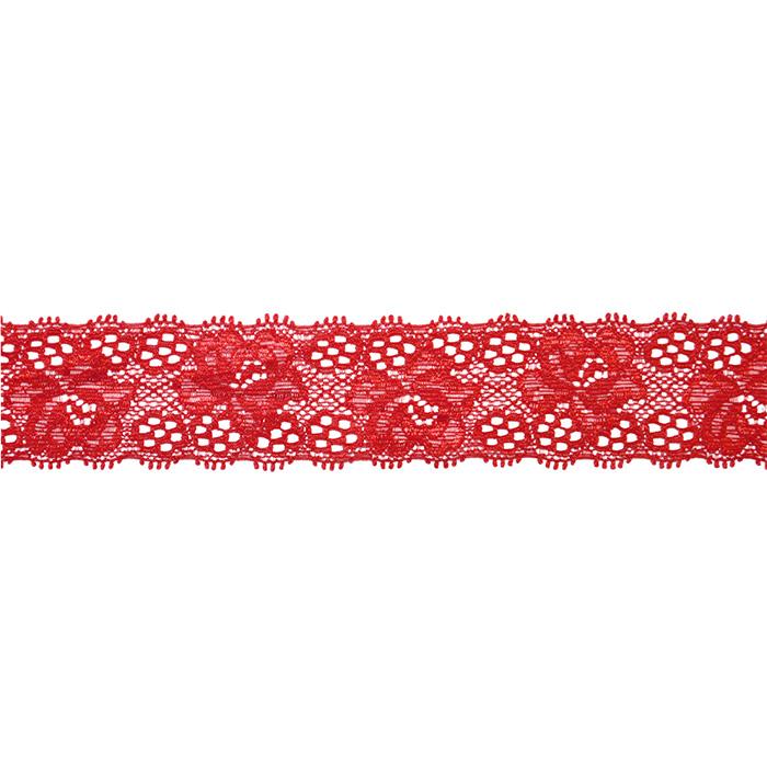 Čipka, elastična, 35mm, 18534-43945, rdeča