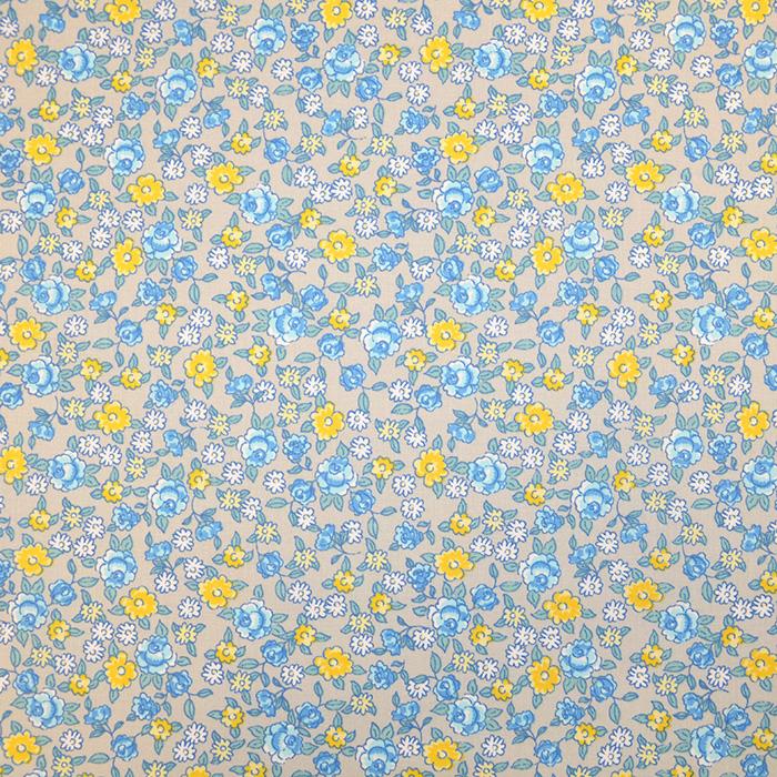 Bombaž, poplin, cvetlični, 19490-1, sivo modra