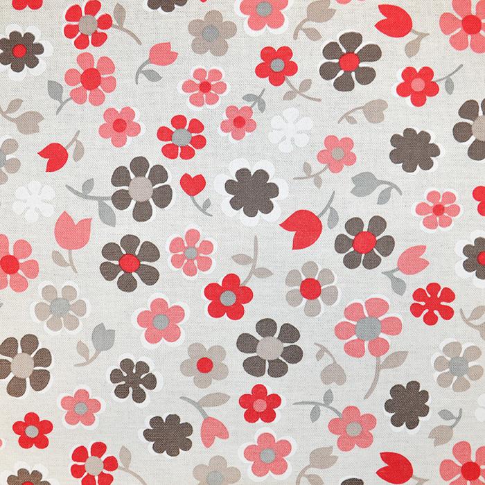 Deko, tisak, impregniran, cvjetni, 18277-6027, crvena