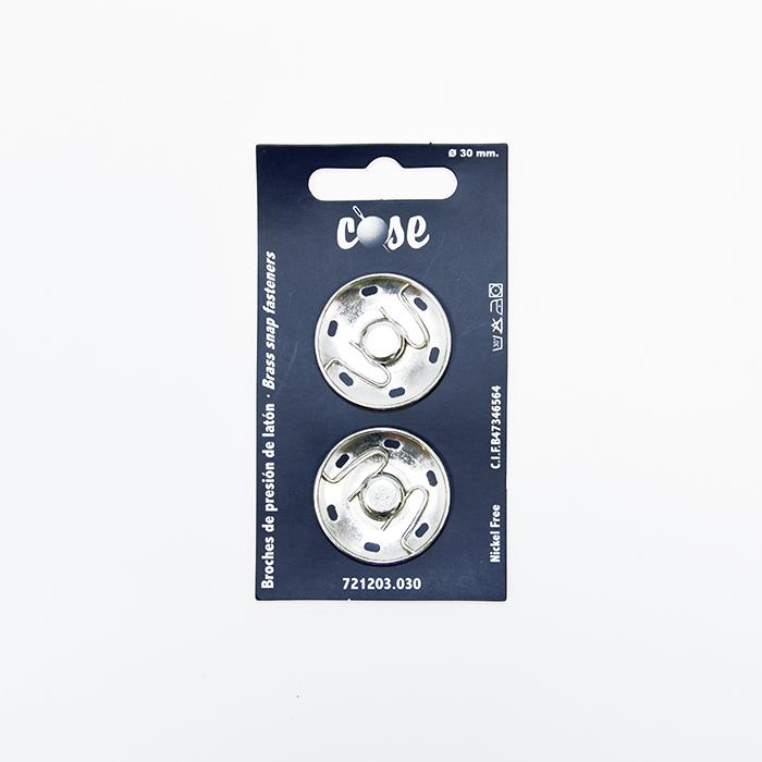 Pritiskači, prišivni, 30mm, 19591-101, srebrna