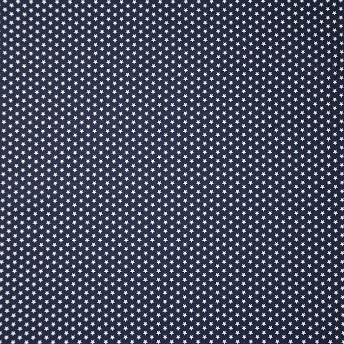Bombaž, poplin, zvezde, 19657-002, temno modra