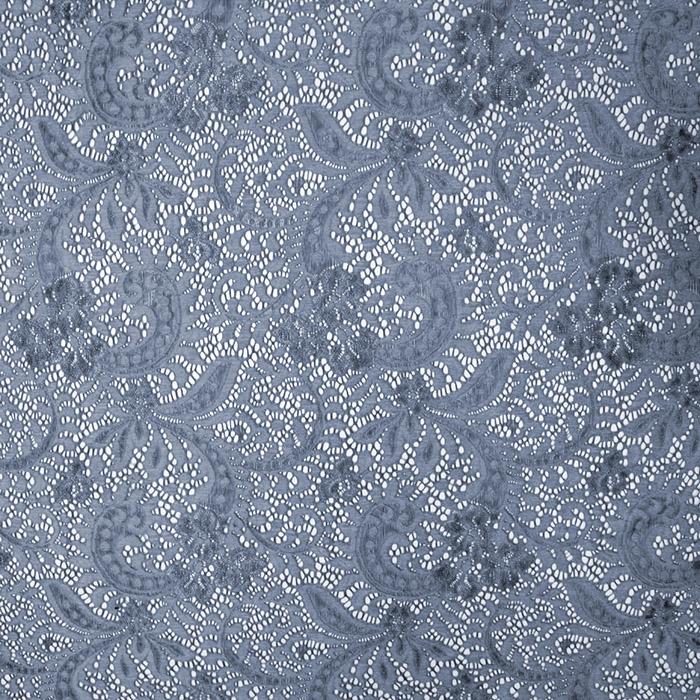 Čipka, elastična, ornamentni, 19725-008, modra