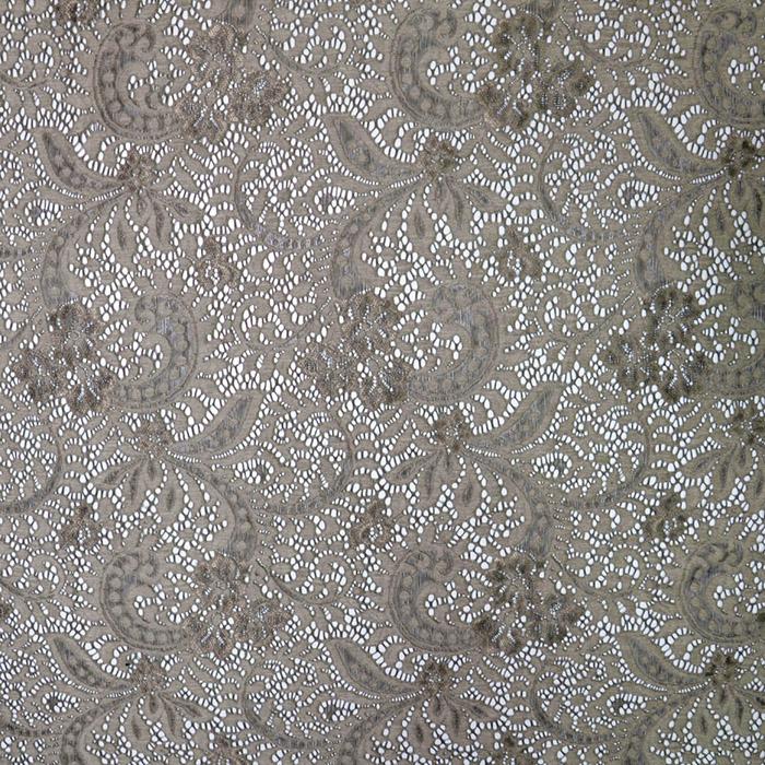 Čipka, elastična, ornamentni, 19725-055, rjava