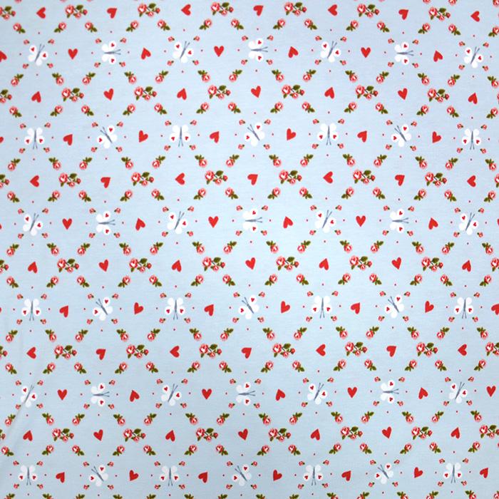 Jersey, pamuk, cvjetni, 20014-062, svjetloplava