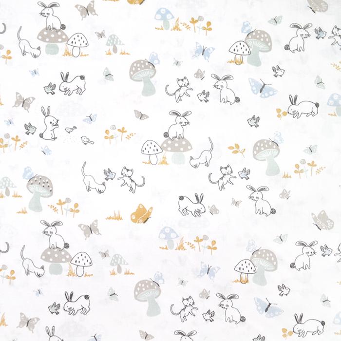 Bombaž, poplin, živalski, 20053-2, bela
