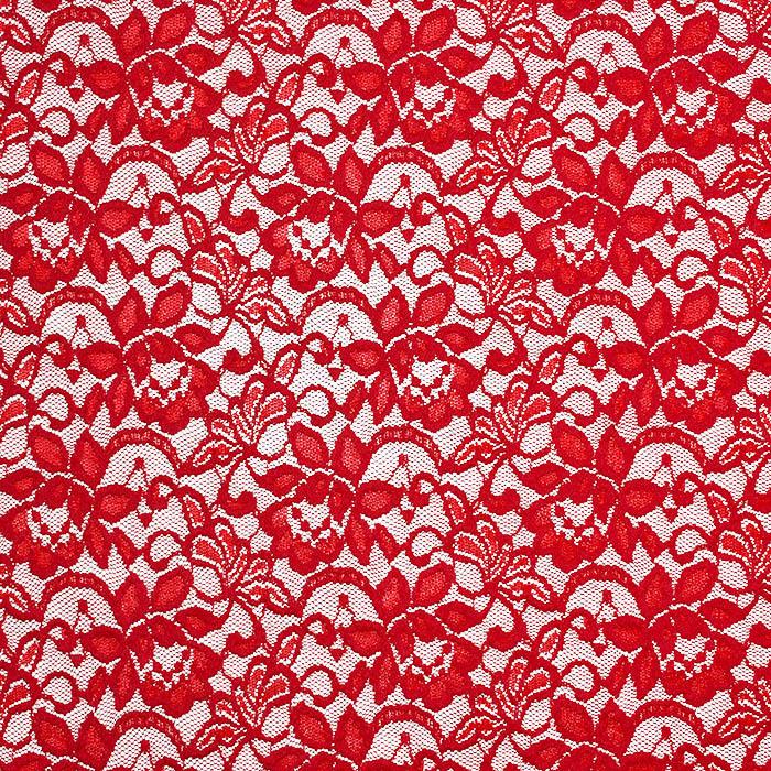 Čipka, elastična, cvetlični, 20083-015, rdeča