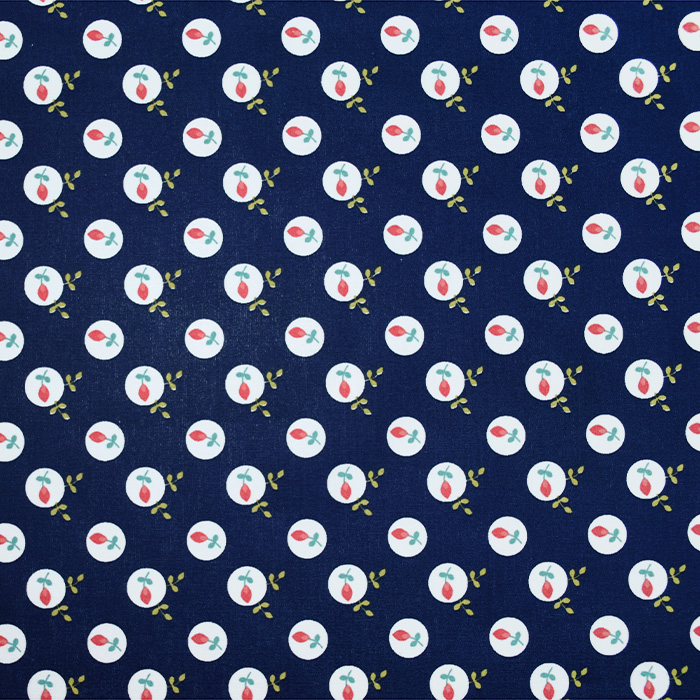 Bombaž, poplin, cvetlični, 20086-002, temno modra