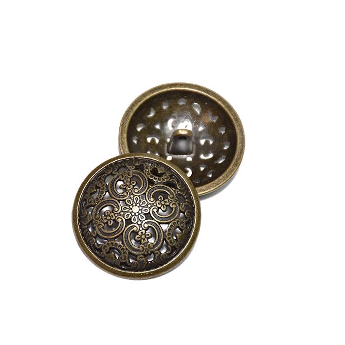 Gumb, kovinski, bombica, 23mm, 20179-102, staro zlato