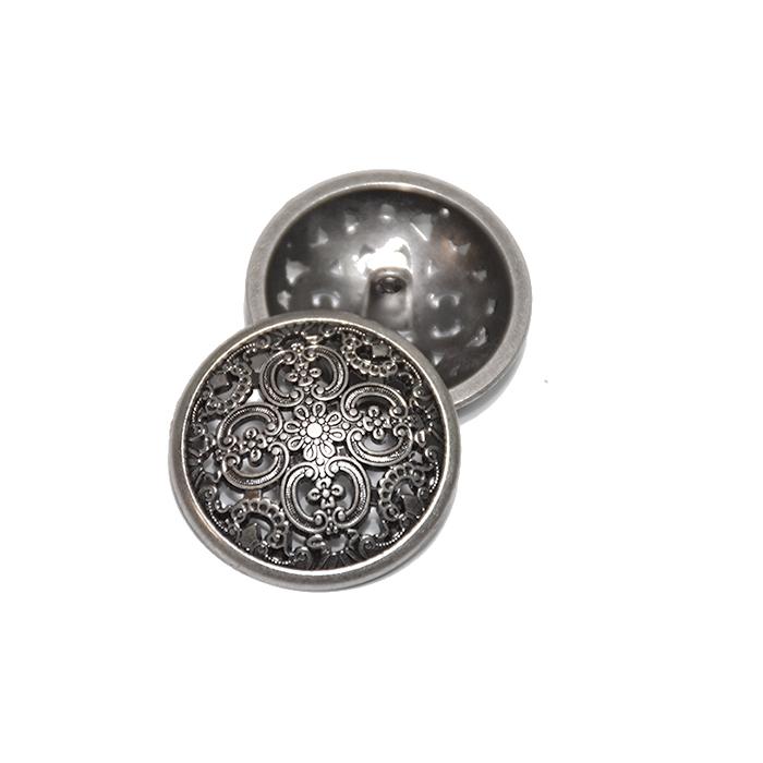 Knopf, metallisch, Bömbchen, 23mm, 20179-103, grau