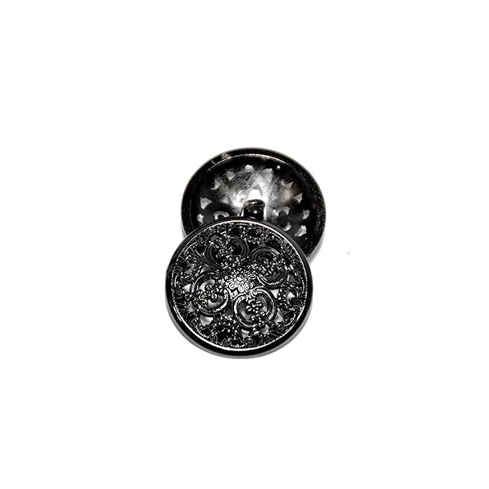 Knopf, metallisch, Bömbchen, 15mm, 20178-105, schwarz