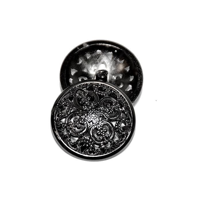 Gumb, kovinski, bombica, 30mm, 20180-105, črna